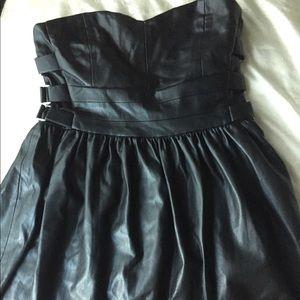 Zara faux leather strapless dress black xs s